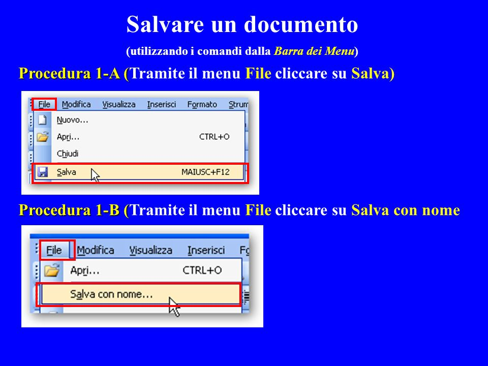Procedura 1-A ( Procedura 1-A (Tramite il menu File cliccare su Salva) Procedura 1-B ( Procedura 1-B (Tramite il menu File cliccare su Salva con nome