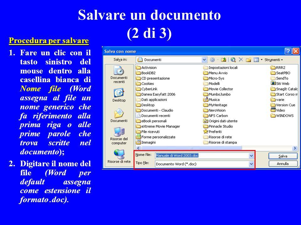 Procedura per salvare 1.Fare un clic con il tasto sinistro del mouse dentro alla casellina bianca di Nome file (Word assegna al file un nome generico