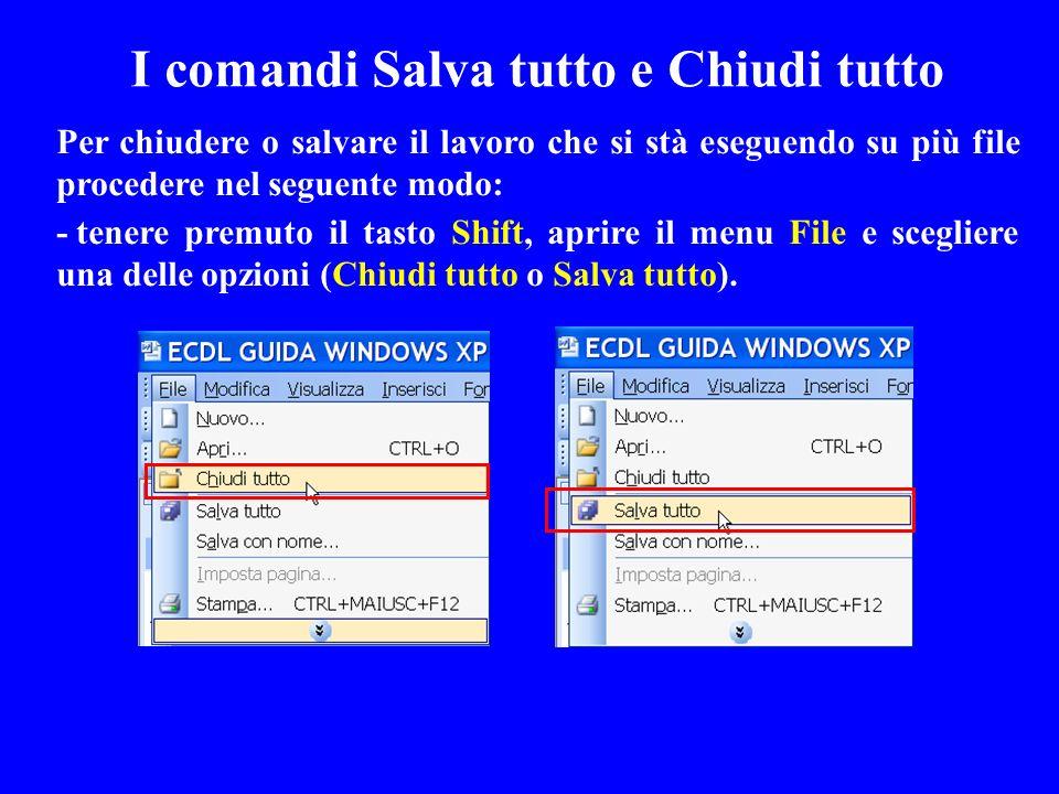 Per chiudere o salvare il lavoro che si stà eseguendo su più file procedere nel seguente modo: -tenere premuto il tasto Shift, aprire il menu File e s
