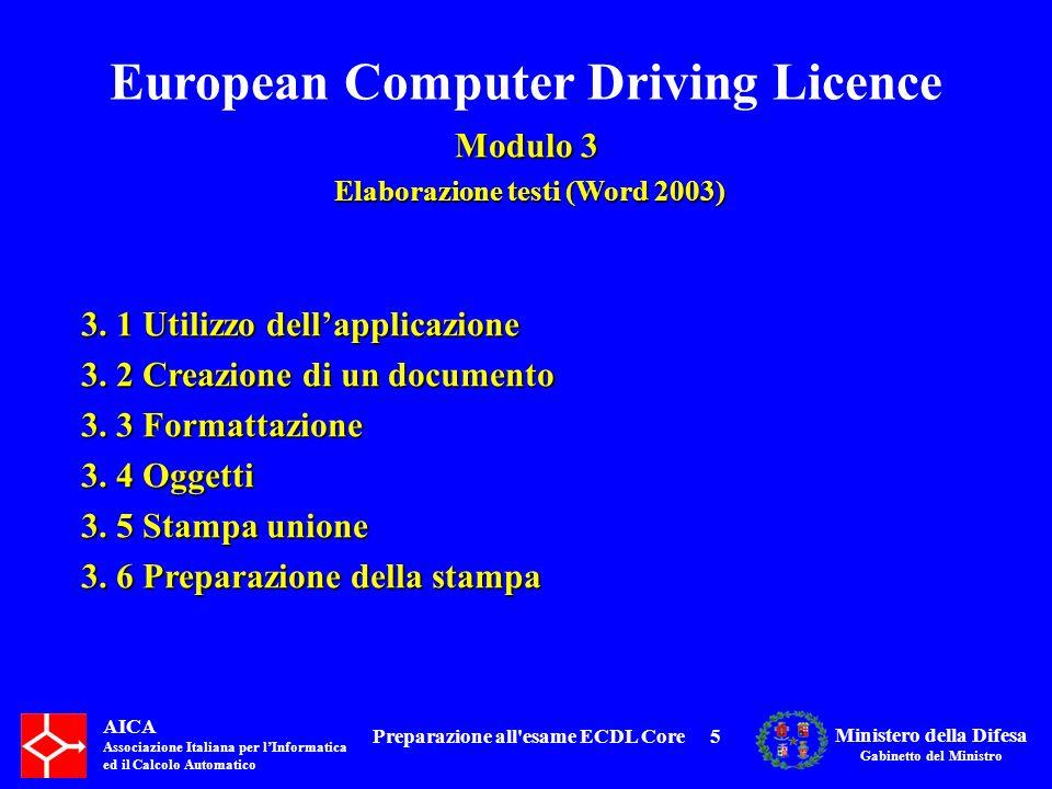 European Computer Driving Licence Modulo 3 Elaborazione testi (Word 2003) Elaborazione testi (Word 2003) AICA Associazione Italiana per lInformatica ed il Calcolo Automatico Ministero della Difesa Gabinetto del Ministro Preparazione all esame ECDL Core6 3.1 Utilizzo dellapplicazione 3.1.1 Lavorare con i documenti 3.1.2 Migliorare la produttività