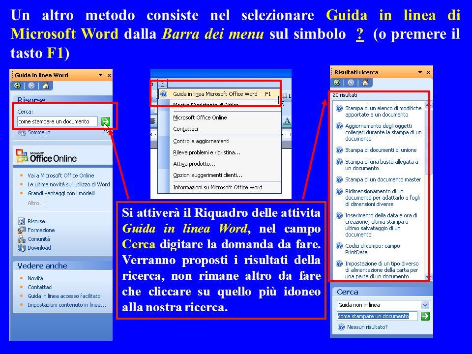Un altro metodo consiste nel selezionare Guida in linea di Microsoft Word dalla Barra dei menu sul simbolo ? (o premere il tasto F1) Si attiverà il Ri