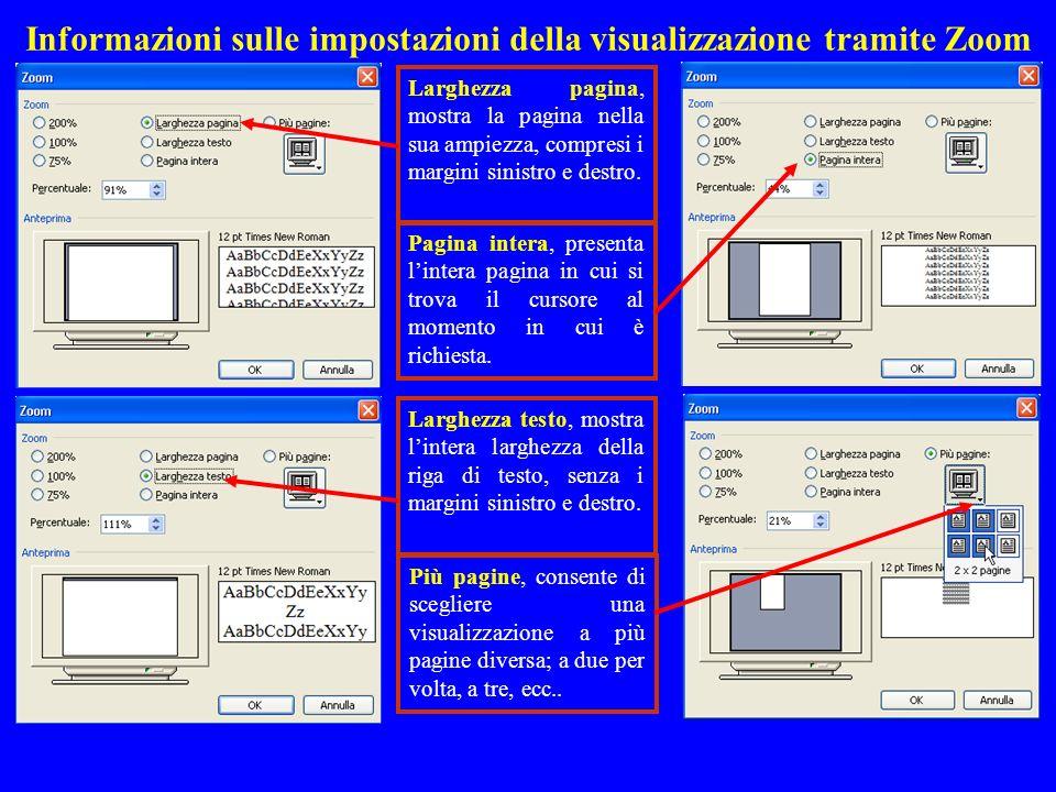 Informazioni sulle impostazioni della visualizzazione tramite Zoom Larghezza pagina, mostra la pagina nella sua ampiezza, compresi i margini sinistro
