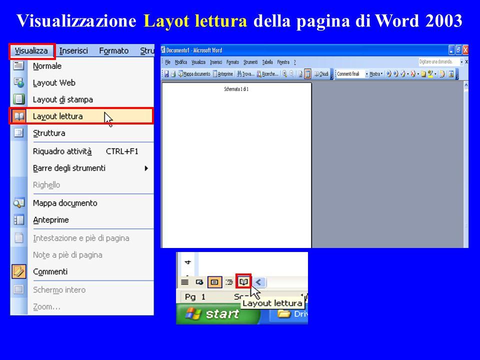 Visualizzazione Layot lettura della pagina di Word 2003