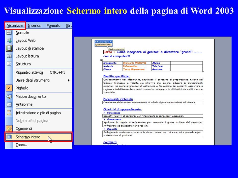 Visualizzazione Schermo intero della pagina di Word 2003