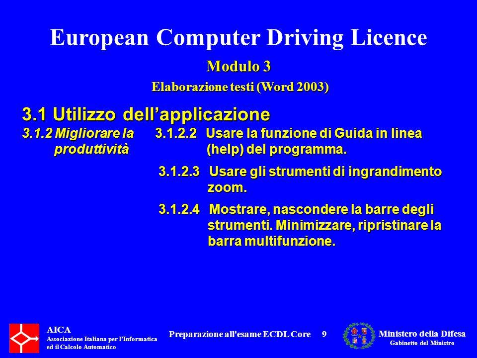 European Computer Driving Licence Modulo 3 Elaborazione testi (Word 2003) Elaborazione testi (Word 2003) AICA Associazione Italiana per lInformatica ed il Calcolo Automatico Ministero della Difesa Gabinetto del Ministro Preparazione all esame ECDL Core10 3.1 Utilizzo dellapplicazione 3.1.1 Lavorare con i documenti 3.1.2 Migliorare la produttività