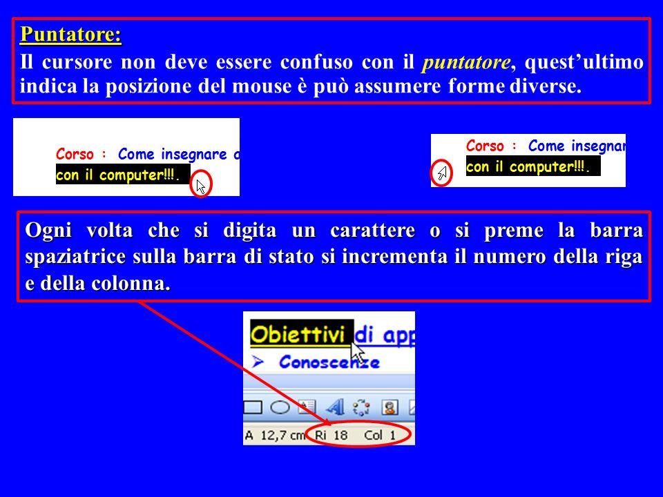 Ogni volta che si digita un carattere o si preme la barra spaziatrice sulla barra di stato si incrementa il numero della riga e della colonna. Puntato