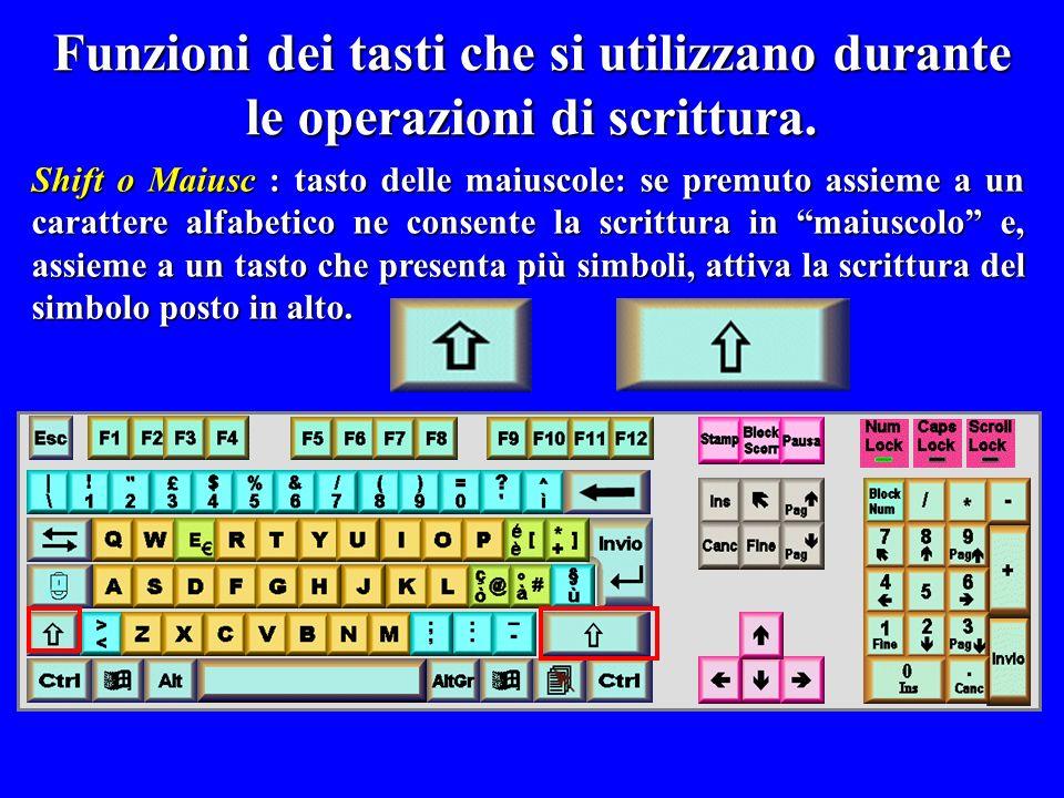 Shift o Maiusc : tasto delle maiuscole: se premuto assieme a un carattere alfabetico ne consente la scrittura in maiuscolo e, assieme a un tasto che p