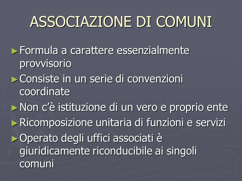 ASSOCIAZIONE DI COMUNI Formula a carattere essenzialmente provvisorio Formula a carattere essenzialmente provvisorio Consiste in un serie di convenzio