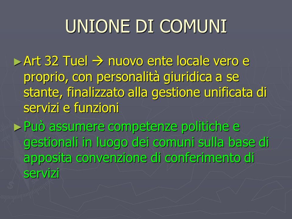 UNIONE DI COMUNI Art 32 Tuel nuovo ente locale vero e proprio, con personalità giuridica a se stante, finalizzato alla gestione unificata di servizi e