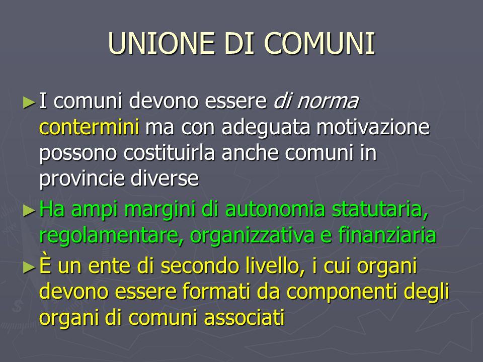 UNIONE DI COMUNI I comuni devono essere di norma contermini ma con adeguata motivazione possono costituirla anche comuni in provincie diverse I comuni