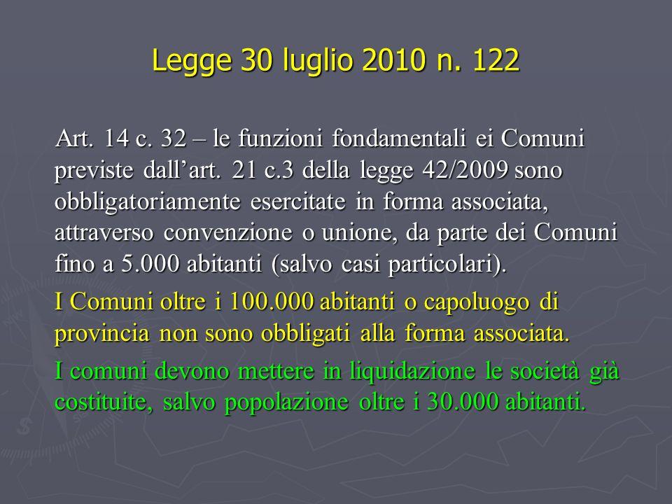 Legge 30 luglio 2010 n. 122 Art. 14 c. 32 – le funzioni fondamentali ei Comuni previste dallart. 21 c.3 della legge 42/2009 sono obbligatoriamente ese