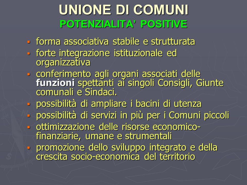 UNIONE DI COMUNI POTENZIALITA POSITIVE forma associativa stabile e strutturata forma associativa stabile e strutturata forte integrazione istituzional
