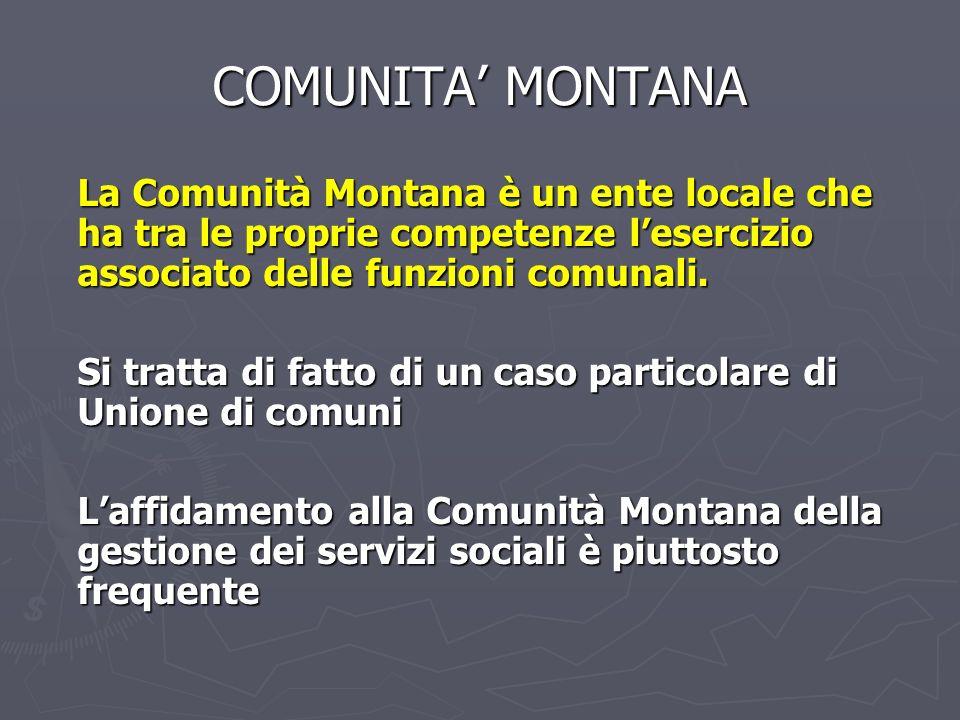COMUNITA MONTANA La Comunità Montana è un ente locale che ha tra le proprie competenze lesercizio associato delle funzioni comunali. Si tratta di fatt