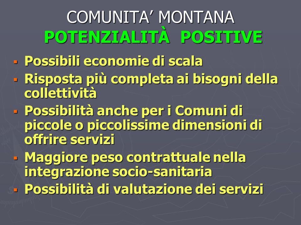 COMUNITA MONTANA POTENZIALITÀ POSITIVE Possibili economie di scala Possibili economie di scala Risposta più completa ai bisogni della collettività Ris