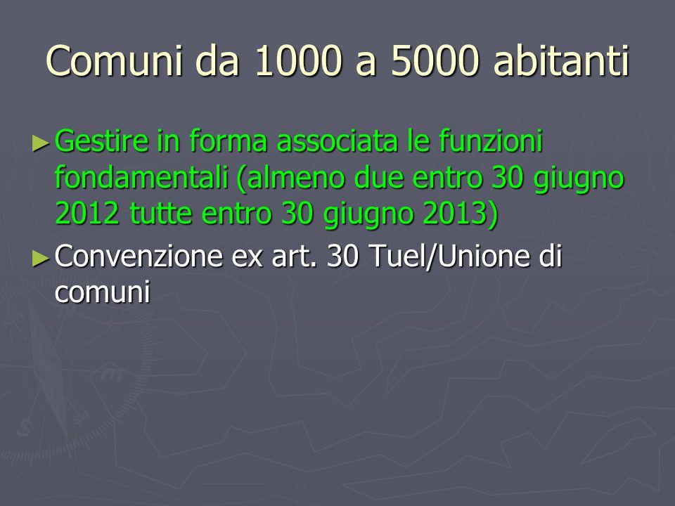 Comuni da 1000 a 5000 abitanti Gestire in forma associata le funzioni fondamentali (almeno due entro 30 giugno 2012 tutte entro 30 giugno 2013) Gestir