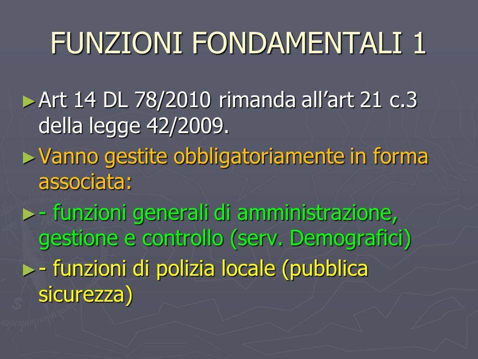 FUNZIONI FONDAMENTALI 1 Art 14 DL 78/2010 rimanda allart 21 c.3 della legge 42/2009. Art 14 DL 78/2010 rimanda allart 21 c.3 della legge 42/2009. Vann