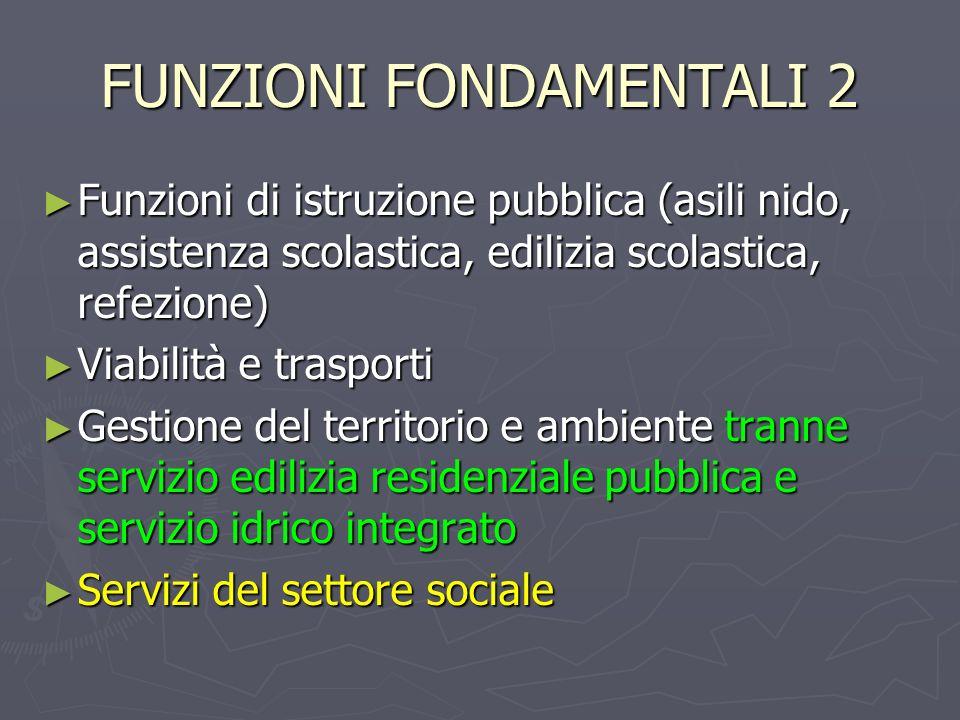 FUNZIONI FONDAMENTALI 2 Funzioni di istruzione pubblica (asili nido, assistenza scolastica, edilizia scolastica, refezione) Funzioni di istruzione pub