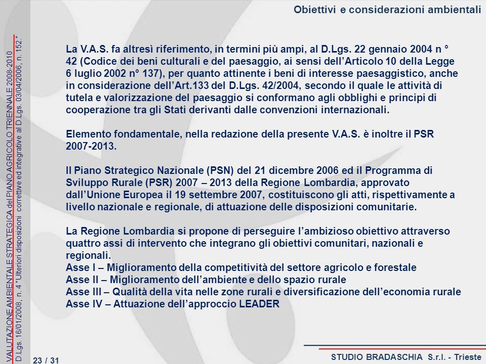 Obiettivi e considerazioni ambientali La V.A.S.