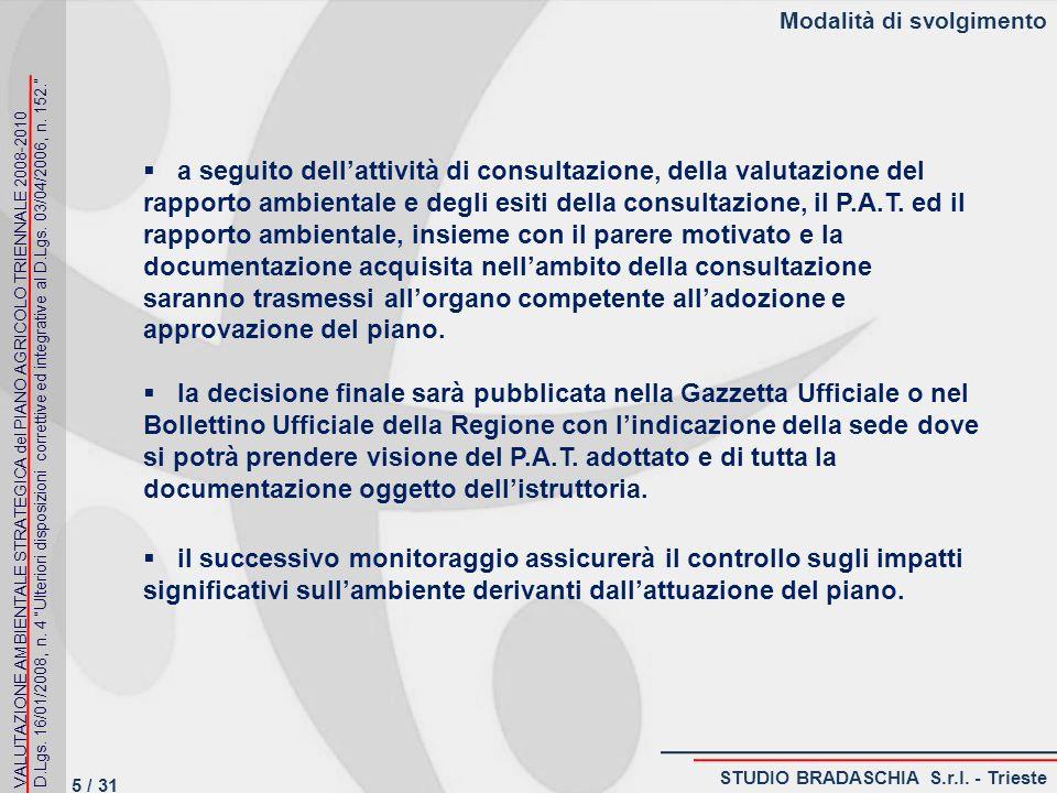 Modalità di svolgimento a seguito dellattività di consultazione, della valutazione del rapporto ambientale e degli esiti della consultazione, il P.A.T.