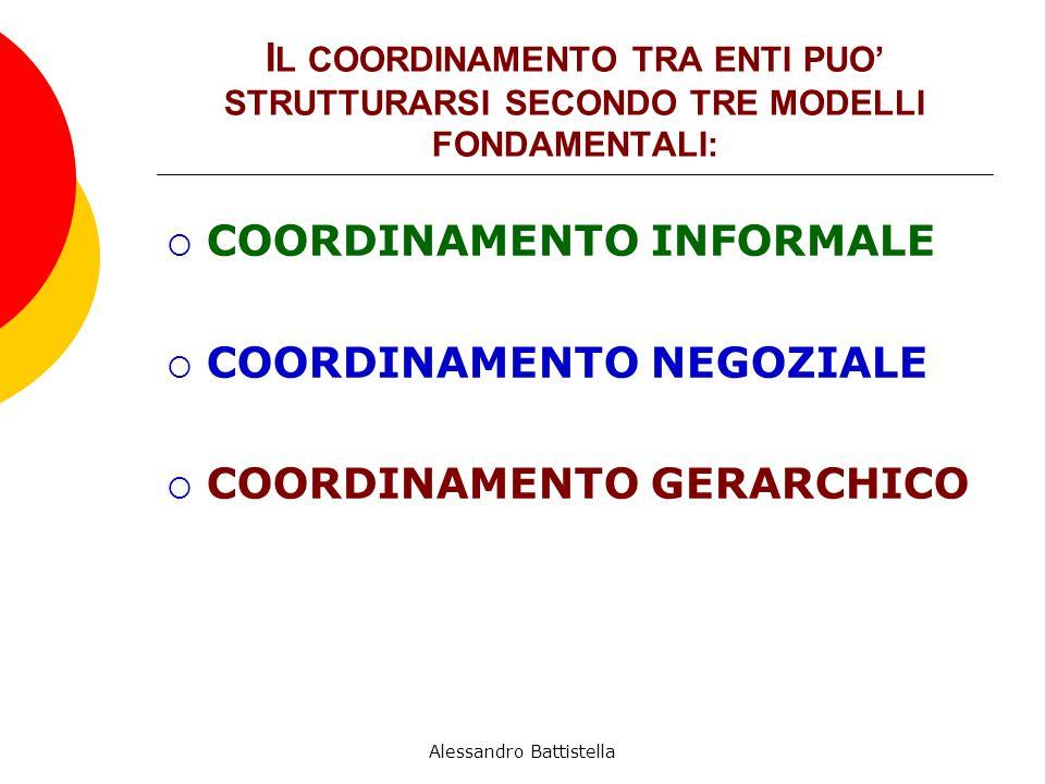 I L COORDINAMENTO TRA ENTI PUO STRUTTURARSI SECONDO TRE MODELLI FONDAMENTALI: COORDINAMENTO INFORMALE COORDINAMENTO NEGOZIALE COORDINAMENTO GERARCHICO Alessandro Battistella