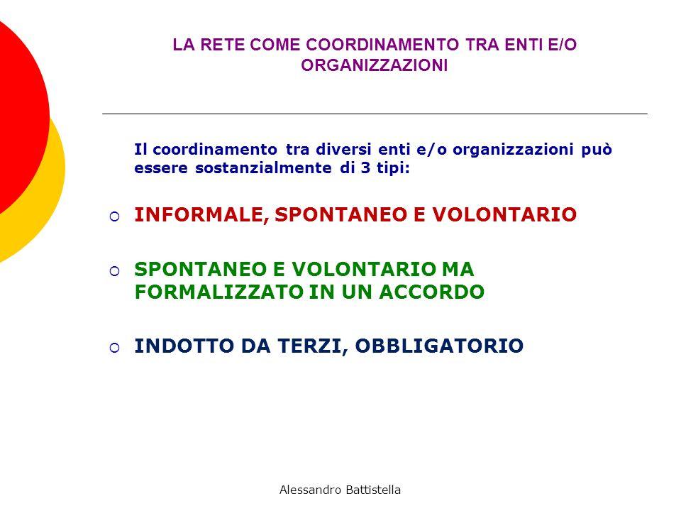 LA RETE COME COORDINAMENTO TRA ENTI E/O ORGANIZZAZIONI Il coordinamento tra diversi enti e/o organizzazioni può essere sostanzialmente di 3 tipi: INFORMALE, SPONTANEO E VOLONTARIO SPONTANEO E VOLONTARIO MA FORMALIZZATO IN UN ACCORDO INDOTTO DA TERZI, OBBLIGATORIO Alessandro Battistella
