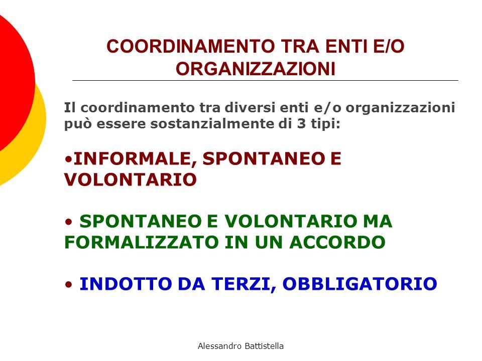 COORDINAMENTO TRA ENTI E/O ORGANIZZAZIONI Il coordinamento tra diversi enti e/o organizzazioni può essere sostanzialmente di 3 tipi: INFORMALE, SPONTANEO E VOLONTARIO SPONTANEO E VOLONTARIO MA FORMALIZZATO IN UN ACCORDO INDOTTO DA TERZI, OBBLIGATORIO Alessandro Battistella