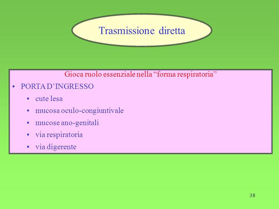 38 Trasmissione diretta Gioca ruolo essenziale nella forma respiratoria PORTA DINGRESSO cute lesa mucosa oculo-congiuntivale mucose ano-genitali via respiratoria via digerente