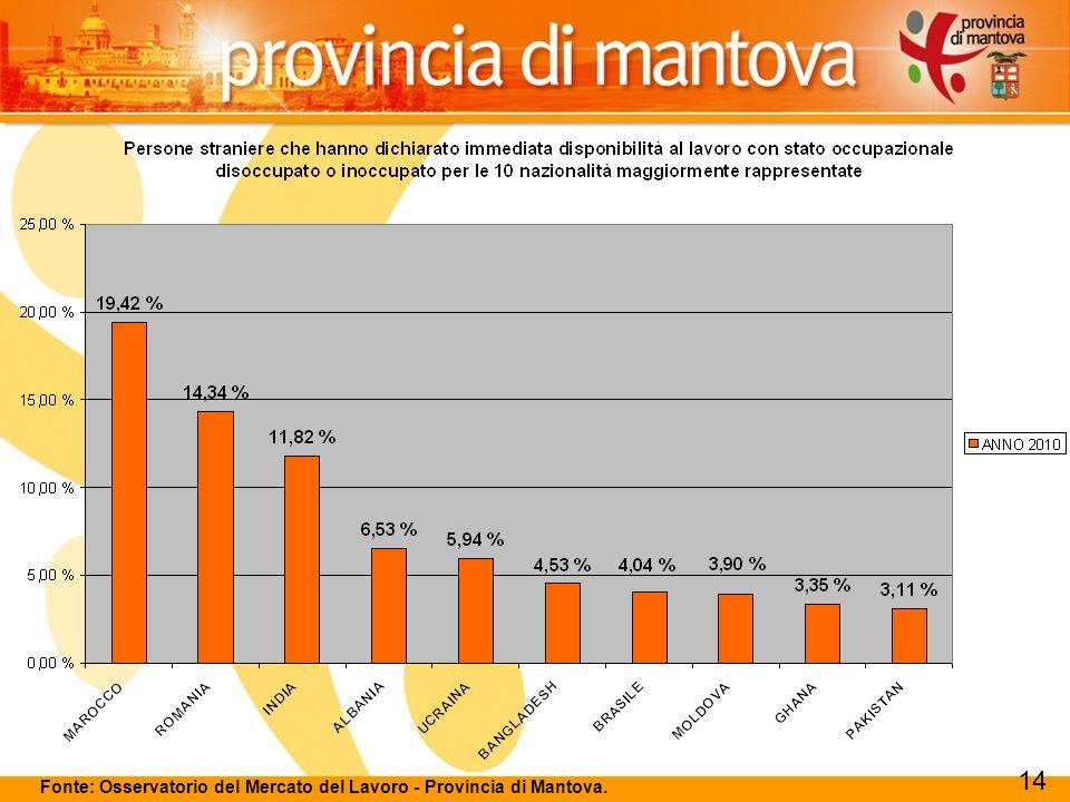119 Fonte: Osservatorio del Mercato del Lavoro - Provincia di Mantova. 14