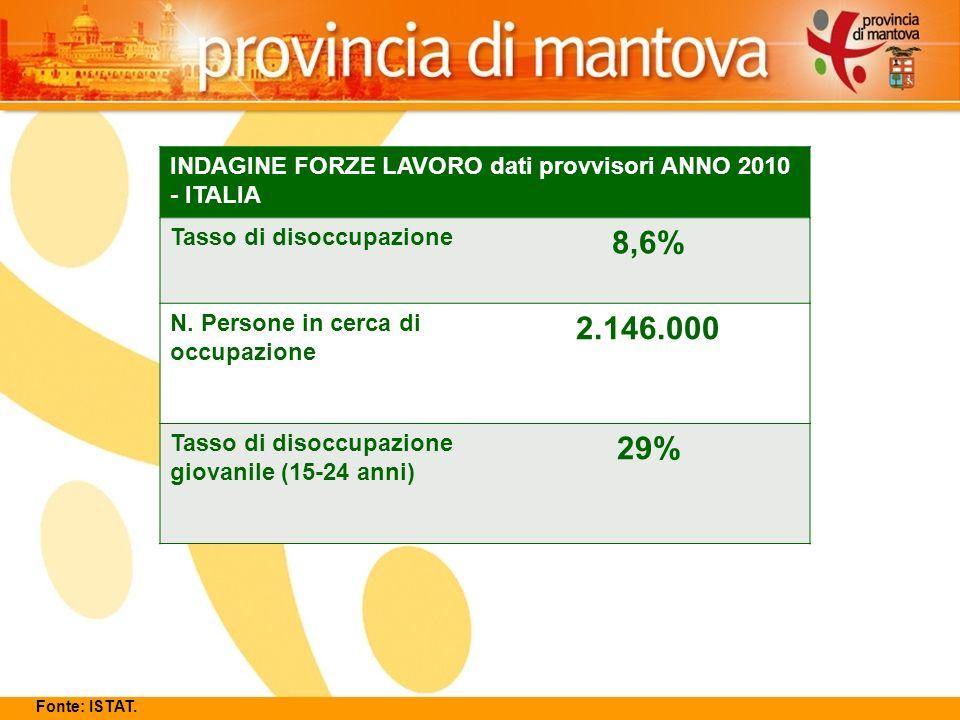 12 INDAGINE FORZE LAVORO dati provvisori ANNO 2010 - ITALIA Tasso di disoccupazione 8,6% N.