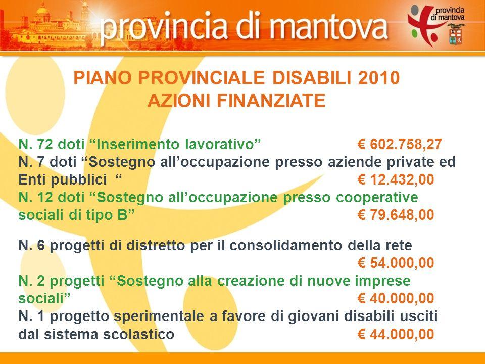 125 PIANO PROVINCIALE DISABILI 2010 AZIONI FINANZIATE N.