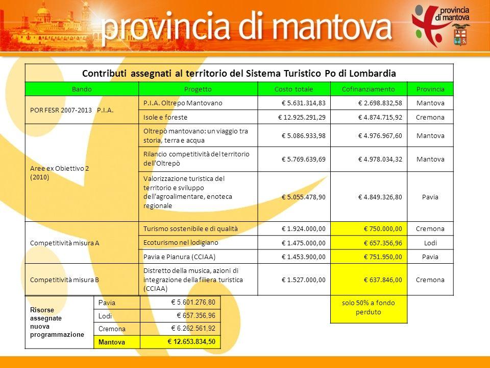 13 Contributi assegnati al territorio del Sistema Turistico Po di Lombardia BandoProgettoCosto totaleCofinanziamentoProvincia POR FESR 2007-2013 P.I.A.