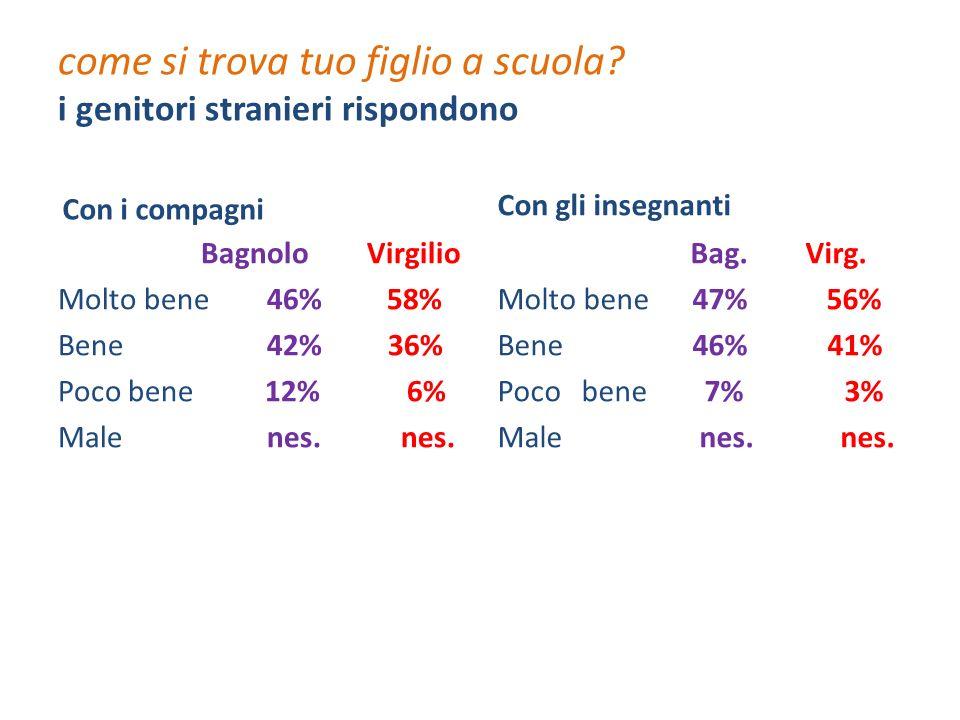 come si trova tuo figlio a scuola? i genitori stranieri rispondono Con i compagni Bagnolo Virgilio Molto bene 46% 58% Bene 42% 36% Poco bene 12% 6% Ma