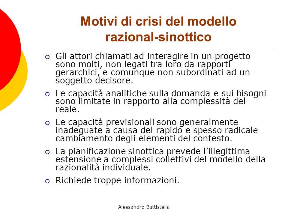 Motivi di crisi del modello razional-sinottico Gli attori chiamati ad interagire in un progetto sono molti, non legati tra loro da rapporti gerarchici, e comunque non subordinati ad un soggetto decisore.