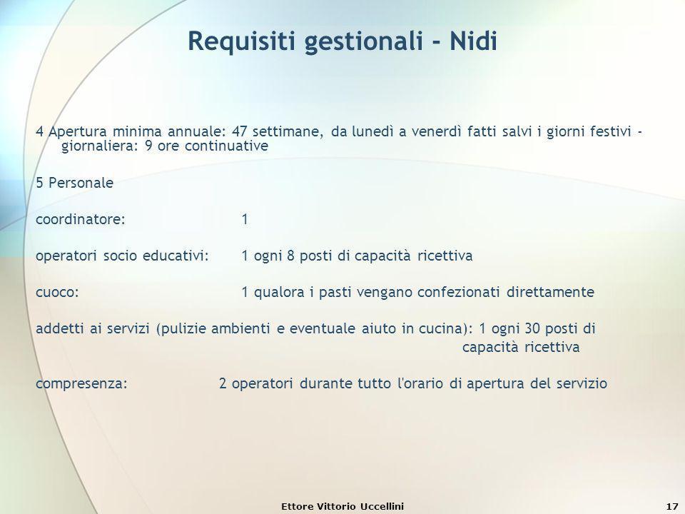Ettore Vittorio Uccellini17 Requisiti gestionali - Nidi 4 Apertura minima annuale: 47 settimane, da lunedì a venerdì fatti salvi i giorni festivi - gi