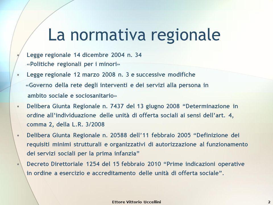Ettore Vittorio Uccellini33 Accreditamento e autorizzazione Laccreditamento è diverso dallistituto della autorizzazione, che è un atto amministrativo con cui la Pubblica Amministrazione consente il funzionamento di un servizio, dopo aver verificato il possesso di predeterminati requisiti e di standard strutturali, tecnologici ed organizzativi.