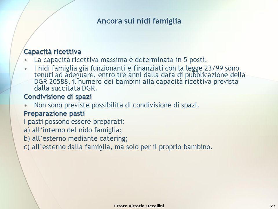 Ettore Vittorio Uccellini27 Ancora sui nidi famiglia Capacità ricettiva La capacità ricettiva massima è determinata in 5 posti. I nidi famiglia già fu