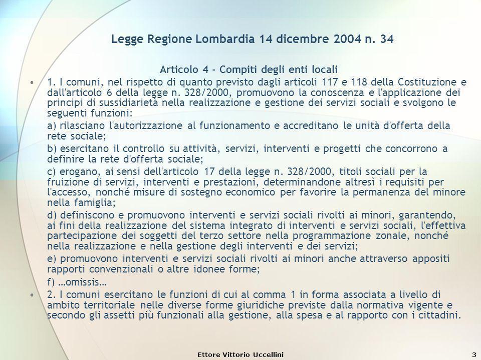 Ettore Vittorio Uccellini4 Le unità di offerta sociali Legge Regione Lombardia 12 marzo 2008 n.
