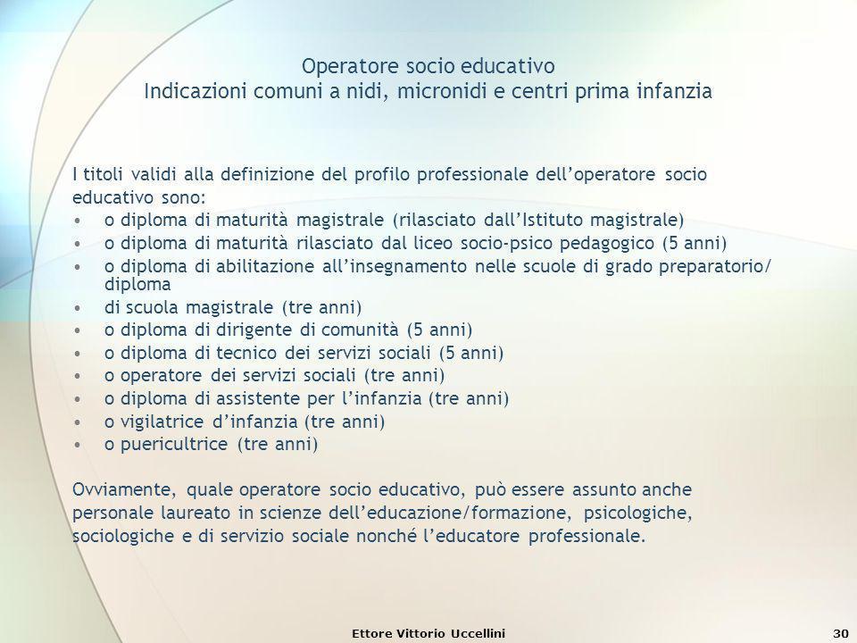 Ettore Vittorio Uccellini30 Operatore socio educativo Indicazioni comuni a nidi, micronidi e centri prima infanzia I titoli validi alla definizione de