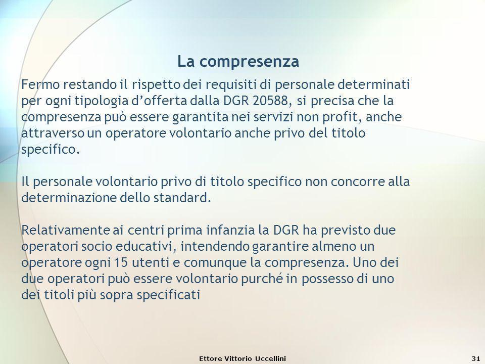 Ettore Vittorio Uccellini31 La compresenza Fermo restando il rispetto dei requisiti di personale determinati per ogni tipologia dofferta dalla DGR 205