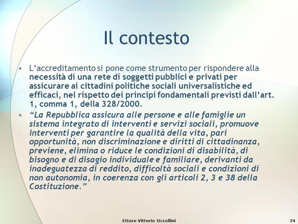 Ettore Vittorio Uccellini34 Il contesto Laccreditamento si pone come strumento per rispondere alla necessità di una rete di soggetti pubblici e privat