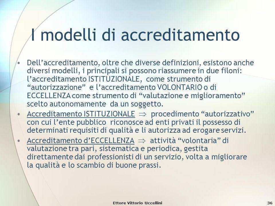 Ettore Vittorio Uccellini36 I modelli di accreditamento Dellaccreditamento, oltre che diverse definizioni, esistono anche diversi modelli, i principal