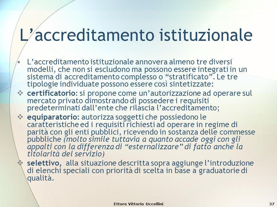 Ettore Vittorio Uccellini37 Laccreditamento istituzionale Laccreditamento istituzionale annovera almeno tre diversi modelli, che non si escludono ma p