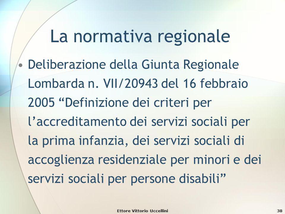 Ettore Vittorio Uccellini38 La normativa regionale Deliberazione della Giunta Regionale Lombarda n. VII/20943 del 16 febbraio 2005 Definizione dei cri