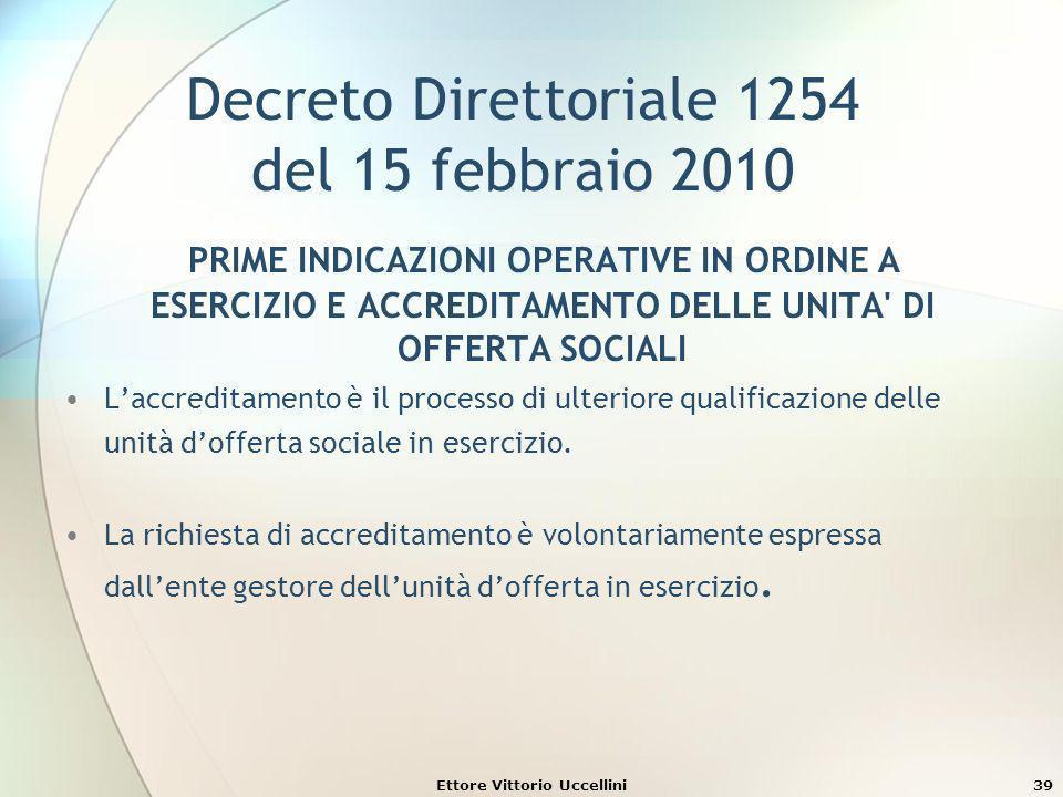 Ettore Vittorio Uccellini39 Decreto Direttoriale 1254 del 15 febbraio 2010 PRIME INDICAZIONI OPERATIVE IN ORDINE A ESERCIZIO E ACCREDITAMENTO DELLE UN