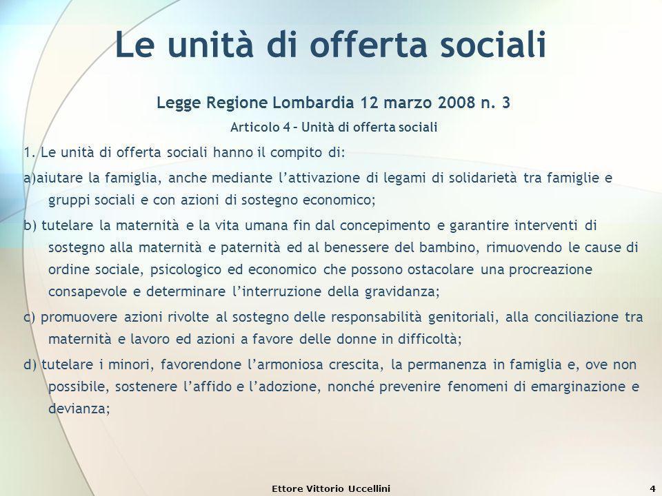 Ettore Vittorio Uccellini4 Le unità di offerta sociali Legge Regione Lombardia 12 marzo 2008 n. 3 Articolo 4 – Unità di offerta sociali 1. Le unità di