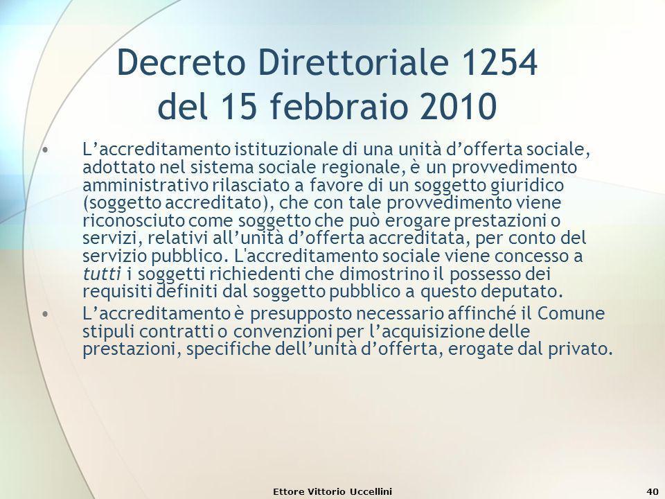 Ettore Vittorio Uccellini40 Decreto Direttoriale 1254 del 15 febbraio 2010 Laccreditamento istituzionale di una unità dofferta sociale, adottato nel s