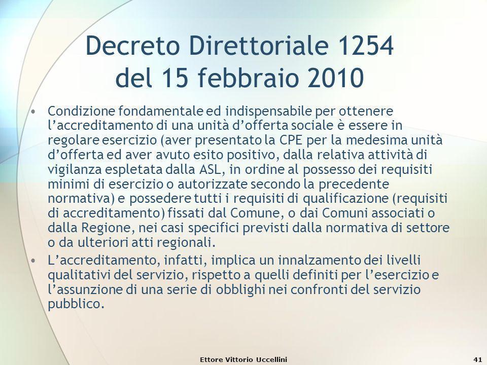 Ettore Vittorio Uccellini41 Decreto Direttoriale 1254 del 15 febbraio 2010 Condizione fondamentale ed indispensabile per ottenere laccreditamento di u
