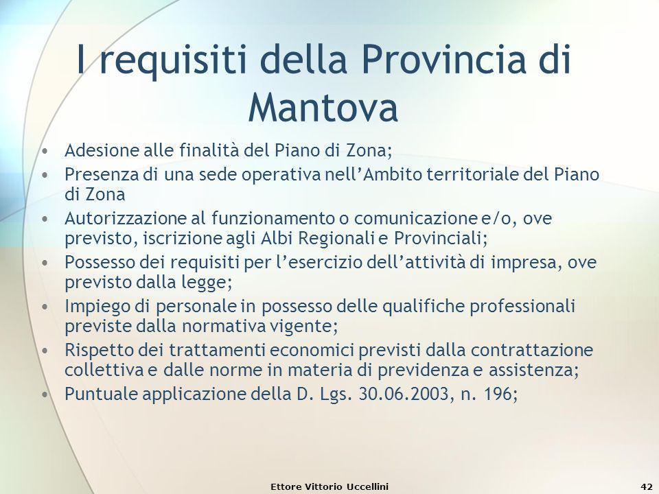 Ettore Vittorio Uccellini42 I requisiti della Provincia di Mantova Adesione alle finalità del Piano di Zona; Presenza di una sede operativa nellAmbito