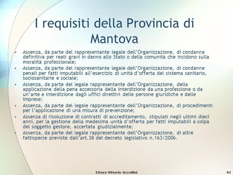 Ettore Vittorio Uccellini43 I requisiti della Provincia di Mantova Assenza, da parte del rappresentante legale dellOrganizzazione, di condanna definit