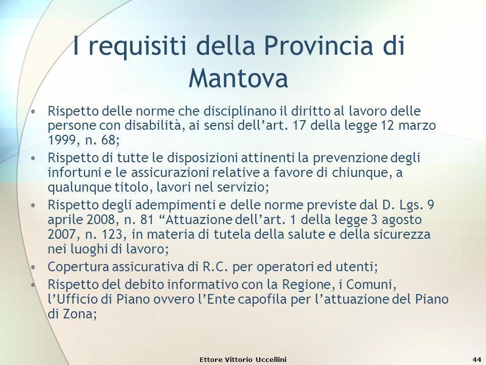 Ettore Vittorio Uccellini44 I requisiti della Provincia di Mantova Rispetto delle norme che disciplinano il diritto al lavoro delle persone con disabi